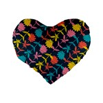 Colorful Floral Pattern Standard 16  Premium Heart Shape Cushions Back