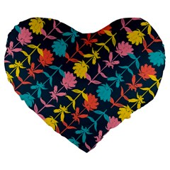 Colorful Floral Pattern Large 19  Premium Heart Shape Cushions
