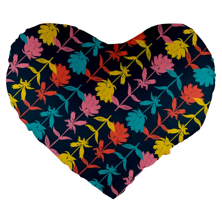 Colorful Floral Pattern Large 19  Premium Heart Shape Cushions