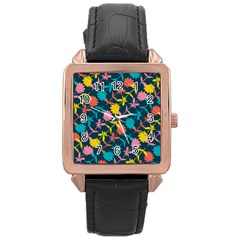 Colorful Floral Pattern Rose Gold Leather Watch  by DanaeStudio