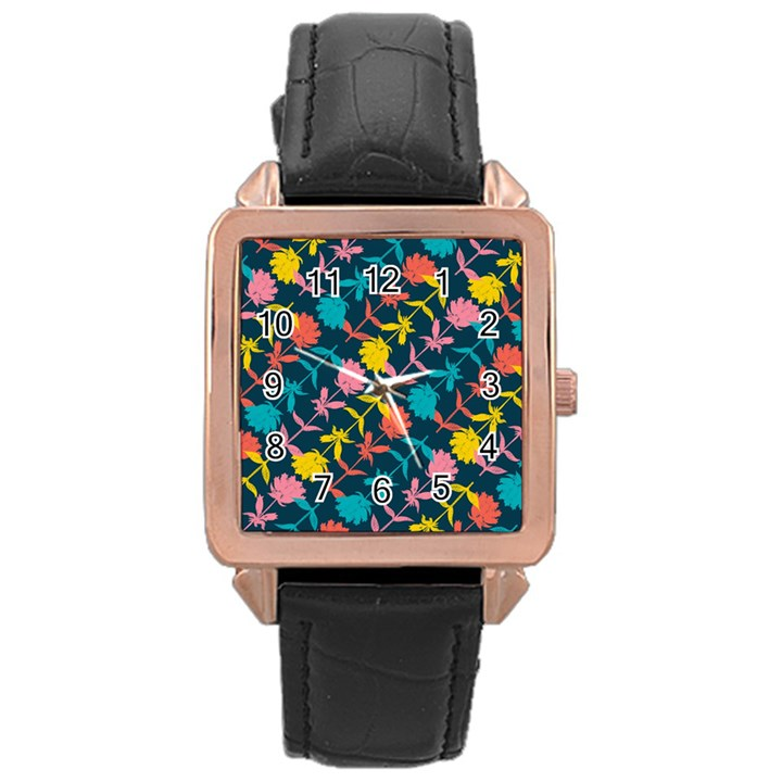 Colorful Floral Pattern Rose Gold Leather Watch