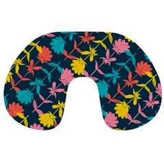 Colorful Floral Pattern Travel Neck Pillows by DanaeStudio