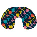 Colorful Floral Pattern Travel Neck Pillows Front