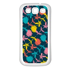 Colorful Floral Pattern Samsung Galaxy S3 Back Case (white) by DanaeStudio