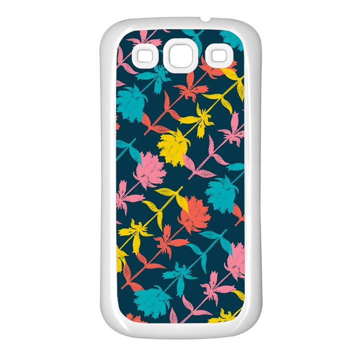Colorful Floral Pattern Samsung Galaxy S3 Back Case (White)