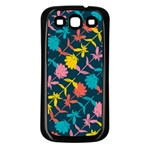 Colorful Floral Pattern Samsung Galaxy S3 Back Case (Black) Front