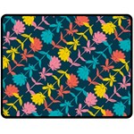 Colorful Floral Pattern Double Sided Fleece Blanket (Medium)  58.8 x47.4 Blanket Front