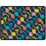 Colorful Floral Pattern Double Sided Fleece Blanket (Large)  80 x60 Blanket Back