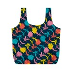 Colorful Floral Pattern Full Print Recycle Bags (M)  Front