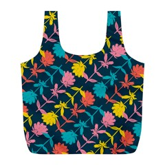 Colorful Floral Pattern Full Print Recycle Bags (L)