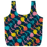 Colorful Floral Pattern Full Print Recycle Bags (L)  Back