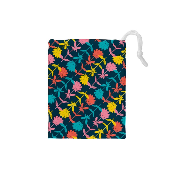 Colorful Floral Pattern Drawstring Pouches (Small)