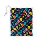 Colorful Floral Pattern Drawstring Pouches (Medium)  Back