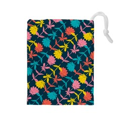 Colorful Floral Pattern Drawstring Pouches (Large)