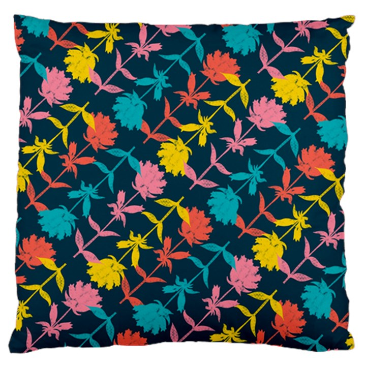 Colorful Floral Pattern Large Flano Cushion Case (One Side)