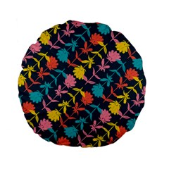Colorful Floral Pattern Standard 15  Premium Flano Round Cushions by DanaeStudio