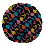 Colorful Floral Pattern Large 18  Premium Flano Round Cushions Back