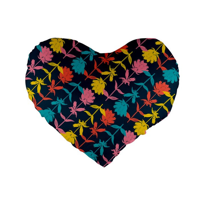 Colorful Floral Pattern Standard 16  Premium Flano Heart Shape Cushions