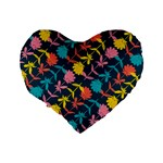 Colorful Floral Pattern Standard 16  Premium Flano Heart Shape Cushions Back
