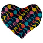 Colorful Floral Pattern Large 19  Premium Flano Heart Shape Cushions