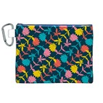 Colorful Floral Pattern Canvas Cosmetic Bag (XL)