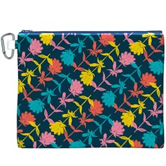 Colorful Floral Pattern Canvas Cosmetic Bag (xxxl) by DanaeStudio