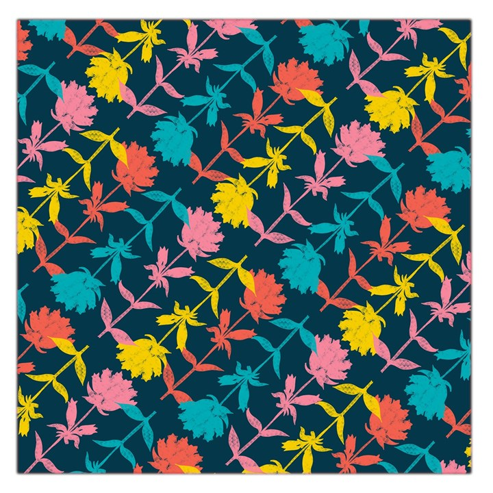 Colorful Floral Pattern Large Satin Scarf (Square)