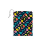 Colorful Floral Pattern Drawstring Pouches (XS)  Back