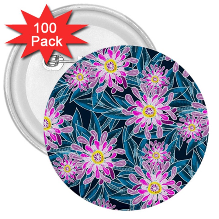 Whimsical Garden 3  Buttons (100 pack)