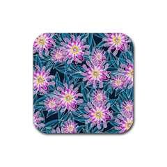 Whimsical Garden Rubber Square Coaster (4 pack)