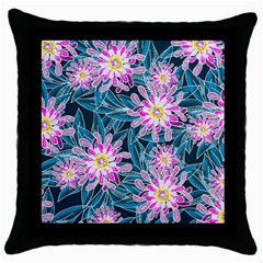 Whimsical Garden Throw Pillow Case (black)