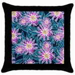 Whimsical Garden Throw Pillow Case (Black) Front