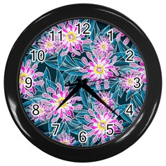 Whimsical Garden Wall Clocks (black) by DanaeStudio