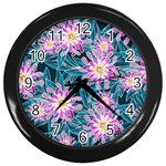 Whimsical Garden Wall Clocks (Black) Front