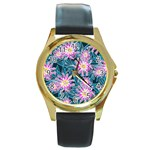 Whimsical Garden Round Gold Metal Watch Front