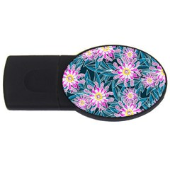 Whimsical Garden Usb Flash Drive Oval (2 Gb)