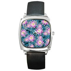 Whimsical Garden Square Metal Watch by DanaeStudio