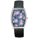 Whimsical Garden Barrel Style Metal Watch Front