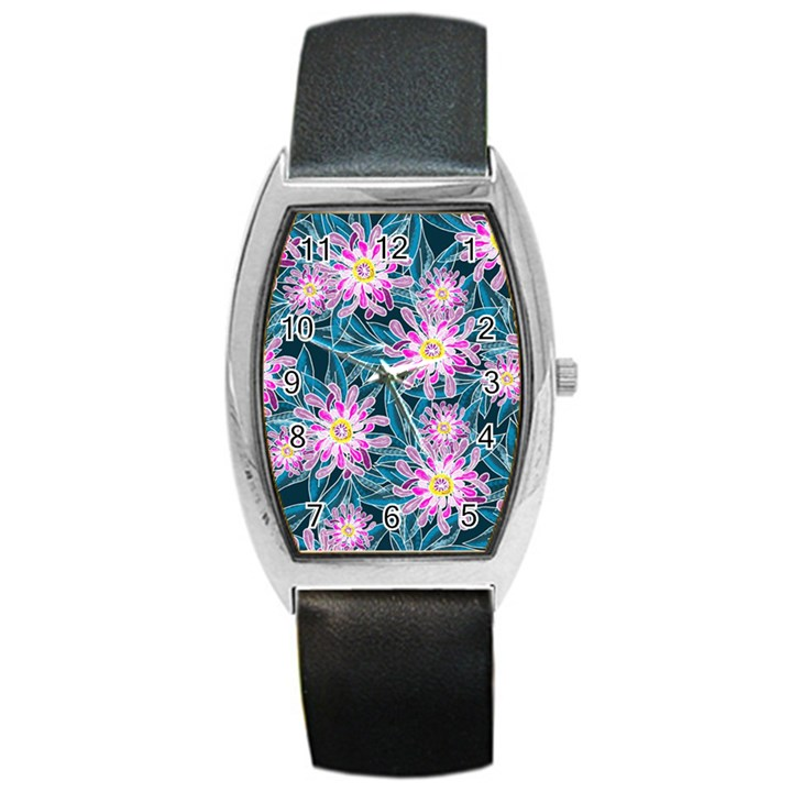 Whimsical Garden Barrel Style Metal Watch