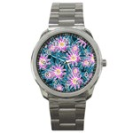 Whimsical Garden Sport Metal Watch Front