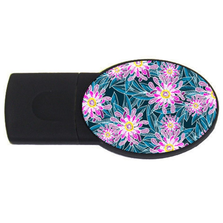 Whimsical Garden USB Flash Drive Oval (4 GB)