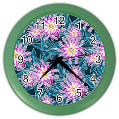 Whimsical Garden Color Wall Clocks by DanaeStudio