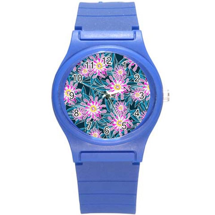 Whimsical Garden Round Plastic Sport Watch (S)