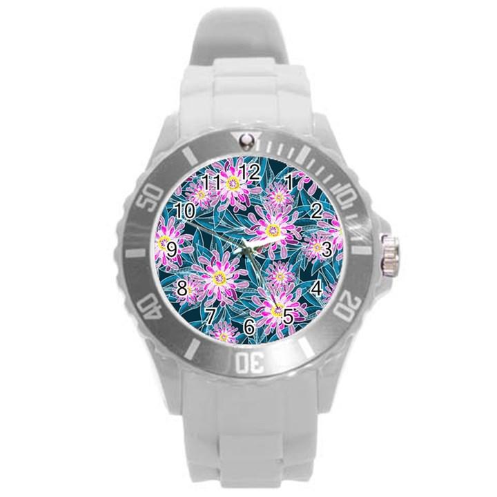 Whimsical Garden Round Plastic Sport Watch (L)