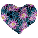 Whimsical Garden Large 19  Premium Heart Shape Cushions Front
