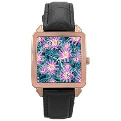 Whimsical Garden Rose Gold Leather Watch  by DanaeStudio