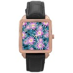 Whimsical Garden Rose Gold Leather Watch  Front