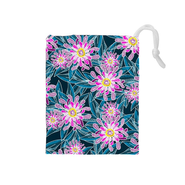 Whimsical Garden Drawstring Pouches (Medium)