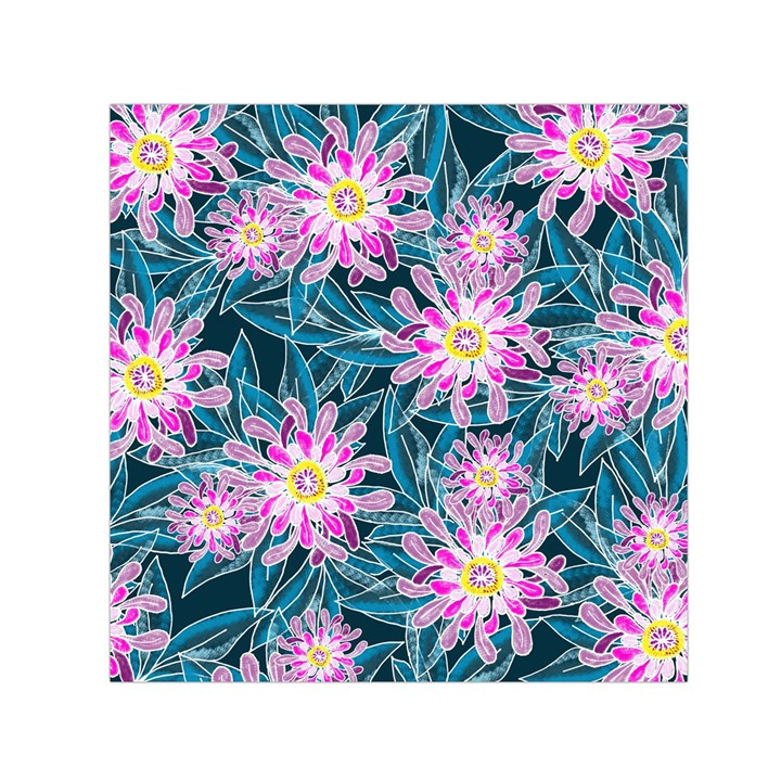 Whimsical Garden Small Satin Scarf (Square)