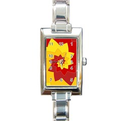 Flower Blossom Spiral Design  Red Yellow Rectangle Italian Charm Watch by designworld65